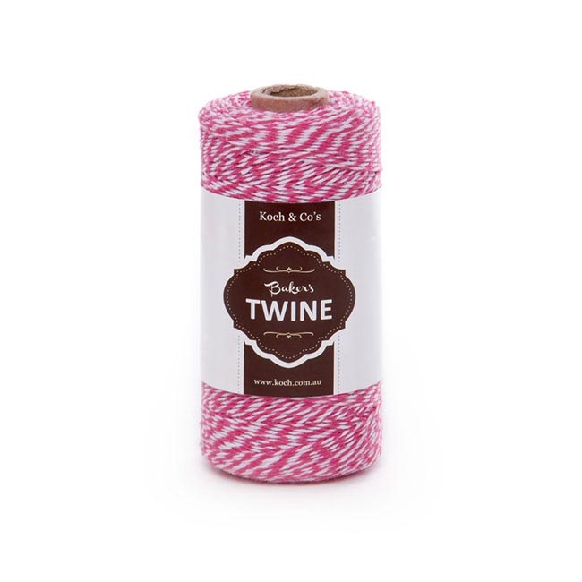 Baker's Twine 4ply 1mm X 219m Pink/White