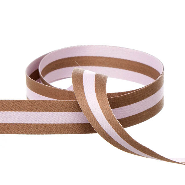 Single Face Satin Stripes DUO Ribbon Pink/Brown(20mmx20m)