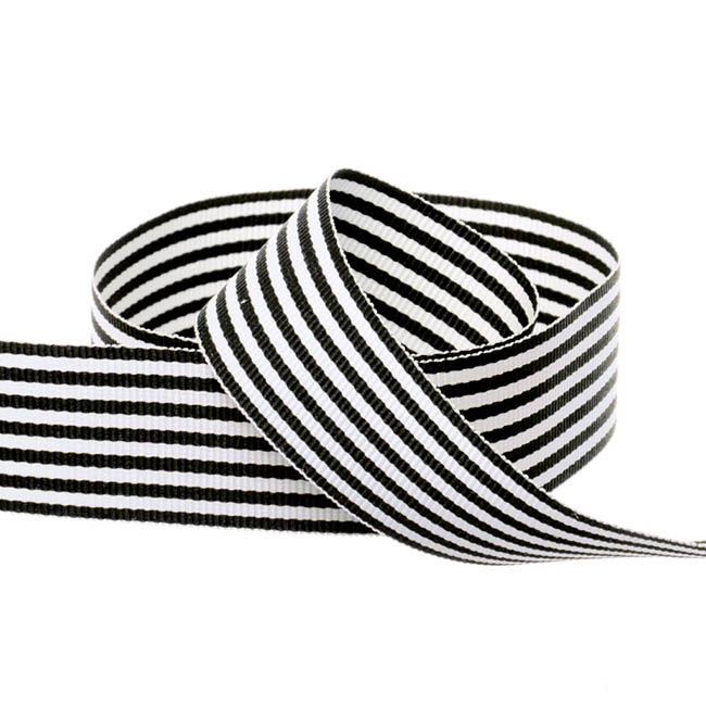 Grosgrain Fine Stripes Ribbon Black (25mmx20m)