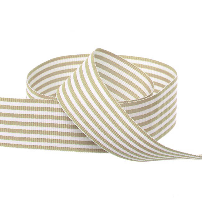 Grosgrain Ribbons - Grosgrain Fine Stripes Ribbon Natural (25mmx20m)