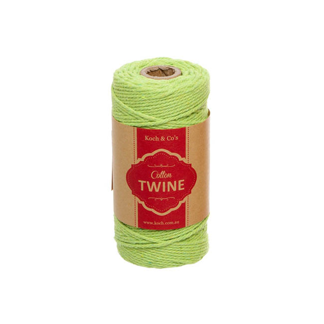 Twine - Cotton Twine 12ply 1.2mm X 100m Lime