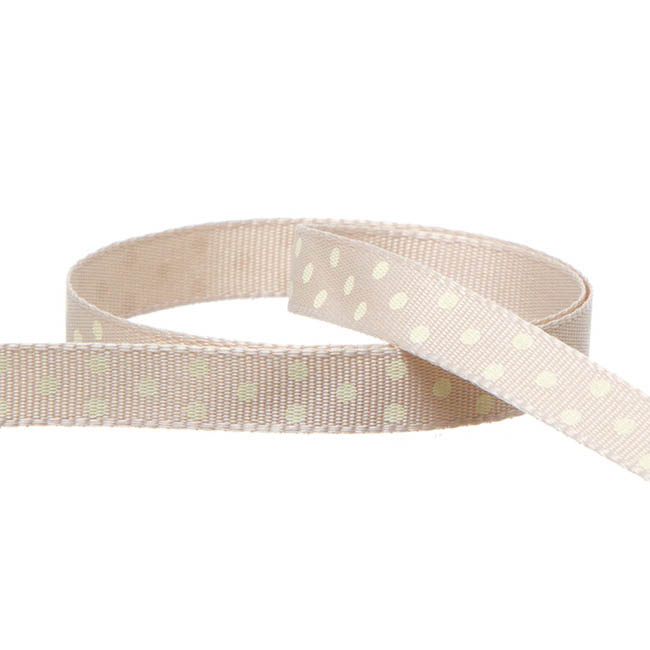 Grosgrain Swiss Dot Ribbon Natural (10mmx20m)
