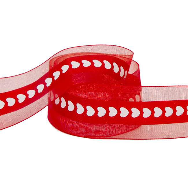 Valentines Ribbons - Ribbon Organza Satin Heart Red (40mmx20m)