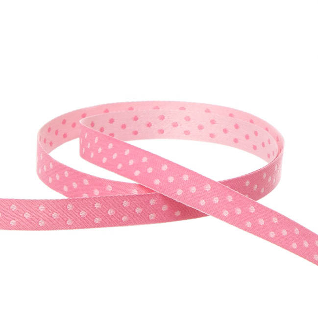 Double Face Satin Swiss Dot DUO Ribbon Pink (10mmx10m)