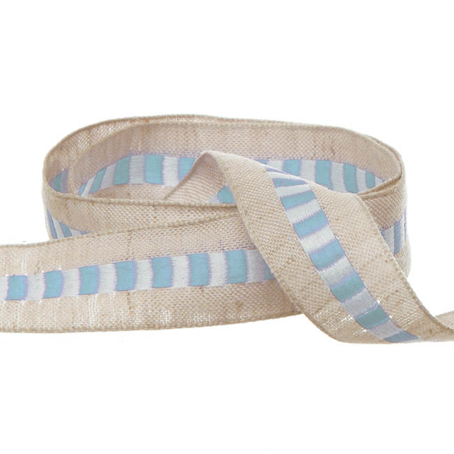Cotton Ribbon Central Stripe Baby Blue (25mmx20m)