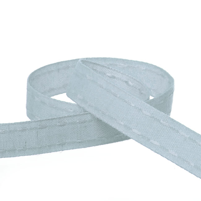 Coloured Cotton Ribbon Saddle Stitch Baby Blue (15mmx20m)