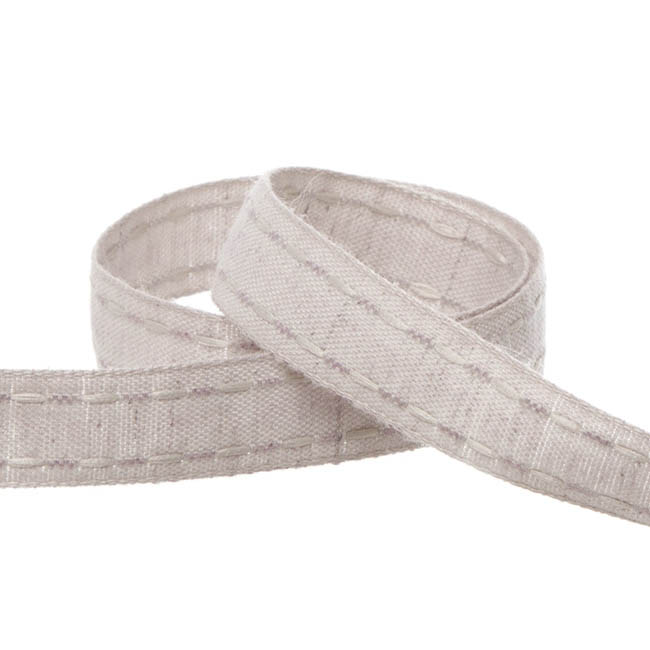 Coloured Cotton Ribbon Saddle Stitch Grey (15mmx20m)