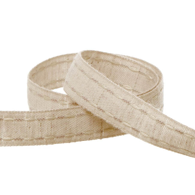 Cotton & Linen Ribbons - Coloured Cotton Ribbon Saddle Stitch Natural (15mmx20m)