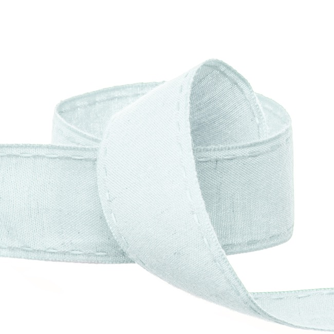 Cotton & Linen Ribbons - Coloured Cotton Ribbon Saddle Stitch Baby Blue (38mmx20m)