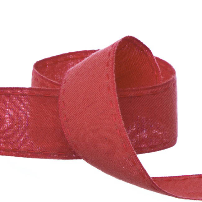 Cotton & Linen Ribbons - Coloured Cotton Ribbon Saddle Stitch Red (38mmx20m)