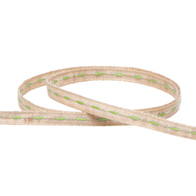 Coloured Cotton Ribbon Central Stitch Lime (3mmx20m)