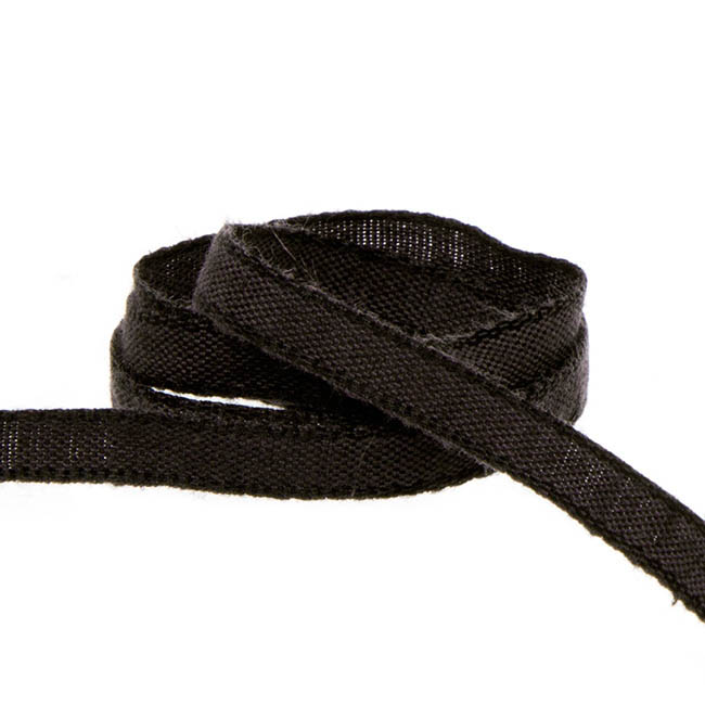 Coloured Cotton Ribbon Black (5mmx20m)