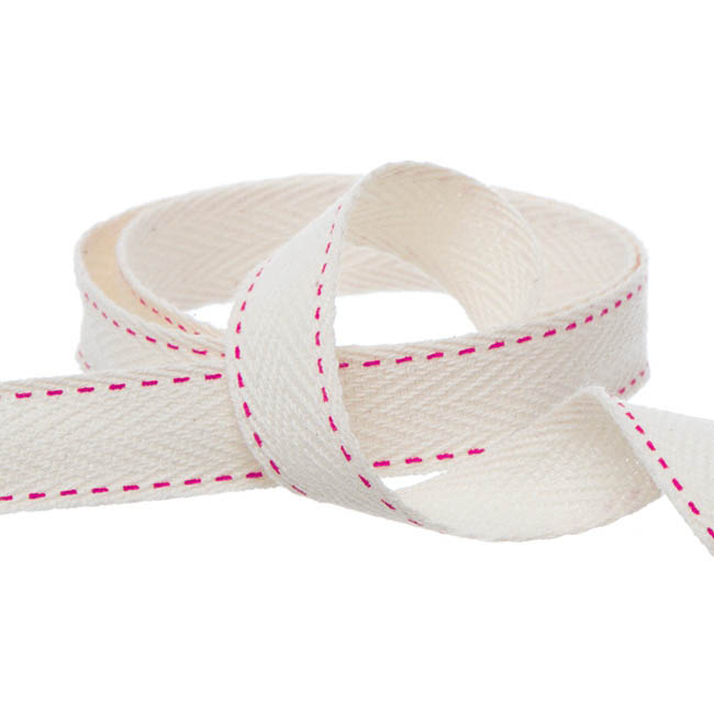 Herringbone Twill Ribbon Stitched Hot Pink (15mmx10m)