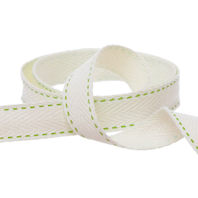 Herringbone Twill Ribbon - Herringbone Twill Ribbon Stitched Lime (15mmx10m)