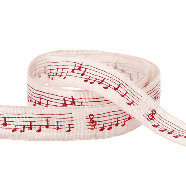 Cotton Musical Notation Ribbon Red (15mmx10m)