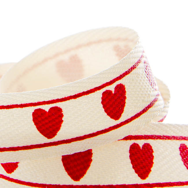 Valentines Ribbons - Herringbone Twill Ribbon Heart Red (15mmx20m)