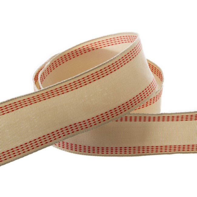 Jute Ribbons - Natural Ribbon with Stitch Red (40mmx10m)