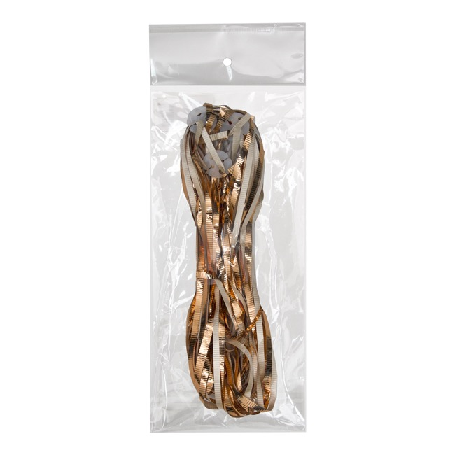 Balloon Sticks & Ribbons - Pre Cut Balloon Ribbon w Clip PK25 Metallic Rose Gold (1.5m)