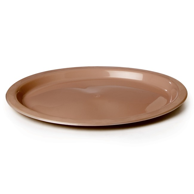 Party Tableware - Deluxe Plastic Plate OVAL Rose Gold (32x25cm) Pack 25