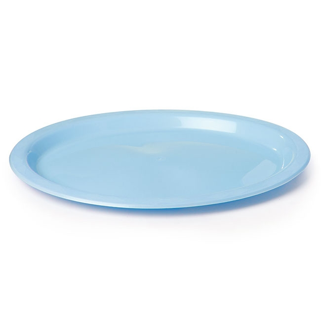 Party Tableware - Deluxe Plastic Plate OVAL Soft Blue (32x25cm) Pack 25