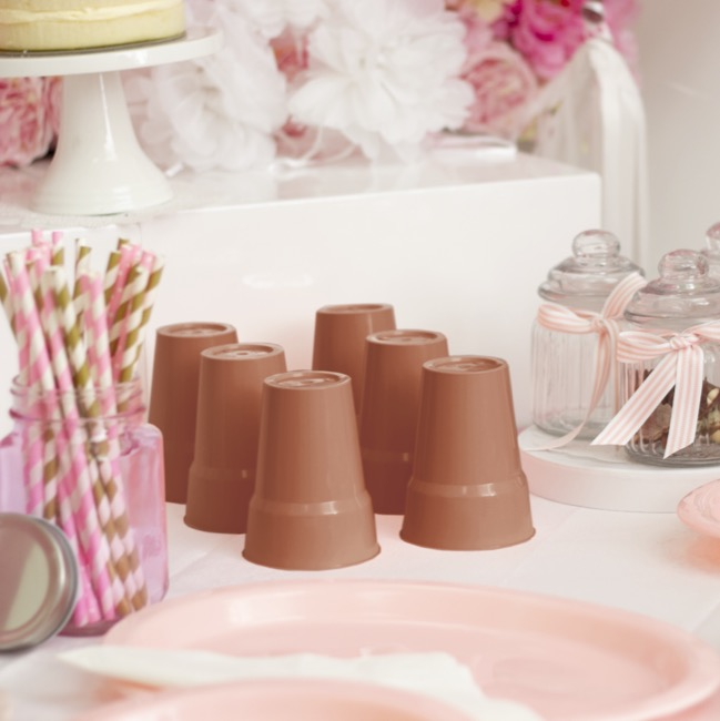 Party Tableware - Deluxe Plastic Cup Rose Gold (285ml) Pack 25
