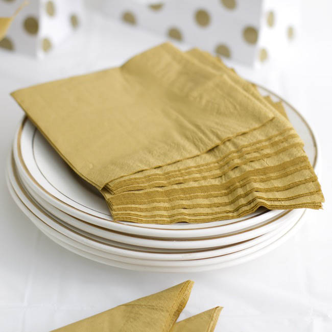 Party Tableware - Paper Napkin 2Ply Gold (40x40cm) Pack 50
