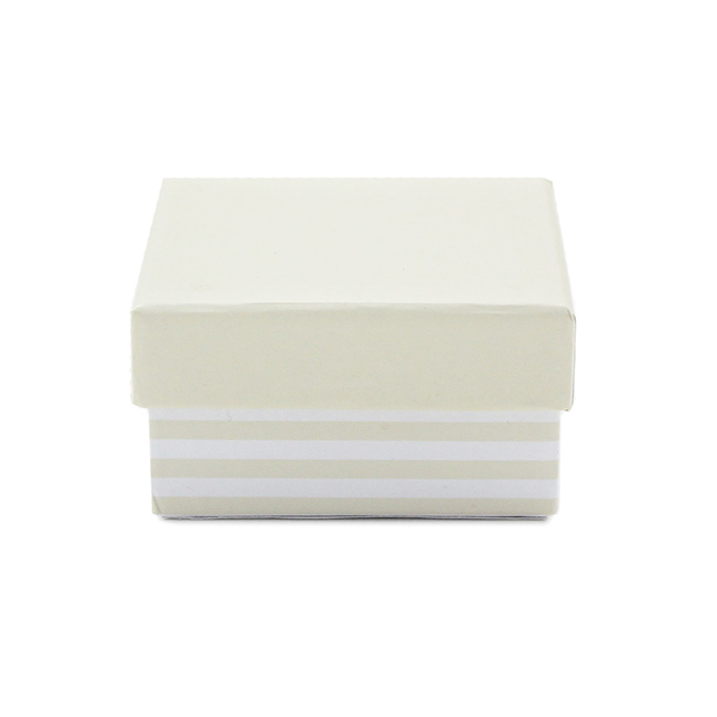 Bomboniere Jewellery Box - Small Stripe Jewellery Box Natural (6Lx6Wx3cmH) Pack 10