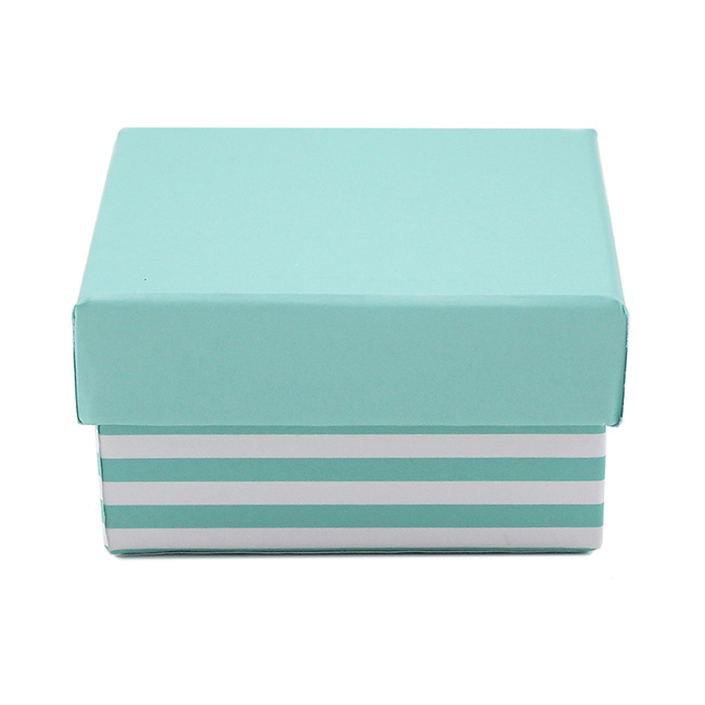 Bomboniere Jewellery Box - Stripe Jewellery Box Tiffany Blue (7.5x7.5x5.5cmH) Pack 5
