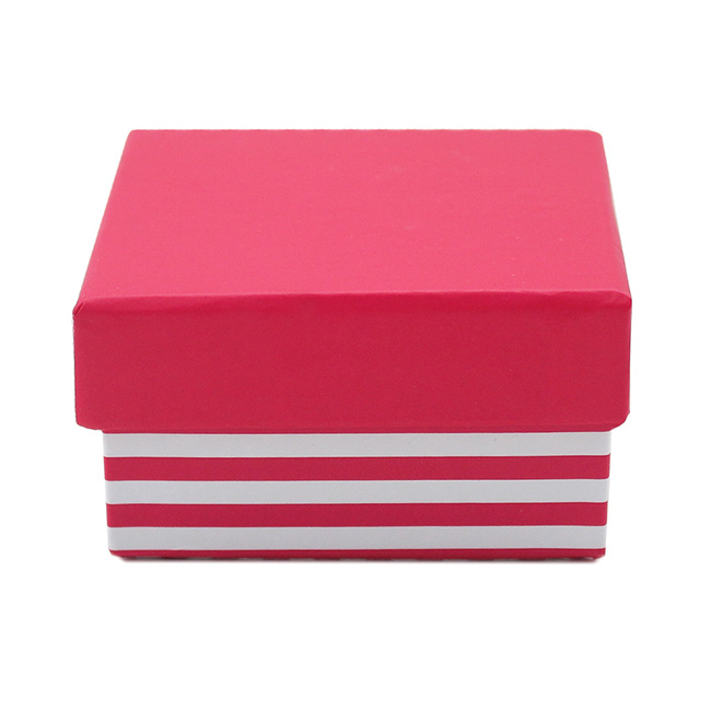 Bomboniere Jewellery Box - Stripe Jewellery Box Hot Pink (7.5x7.5x5.5cmH) Pack 5