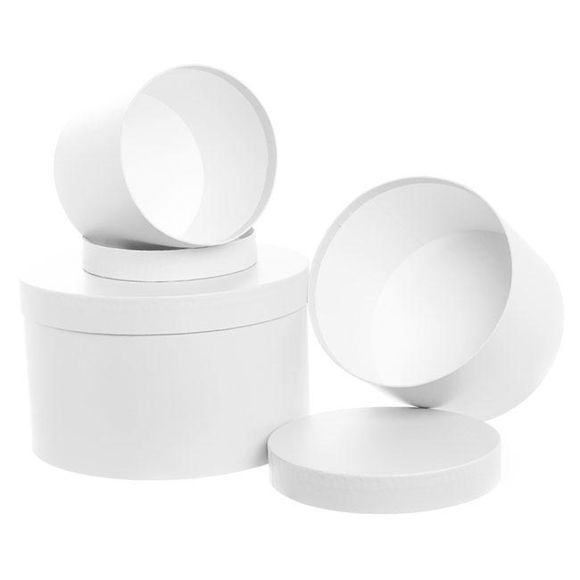 Gift Boxes Sets & Hat Boxes - Gift Box Round White (25cmDx15cmH) Set 3