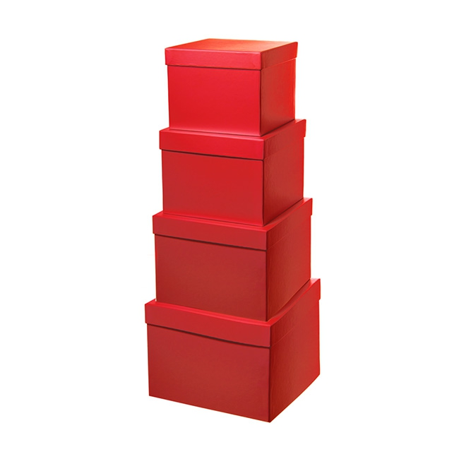 Gift Boxes Sets & Hat Boxes - Gift Flower Box Squ Flora Red (16.5x16.5x13cmH) Set 4