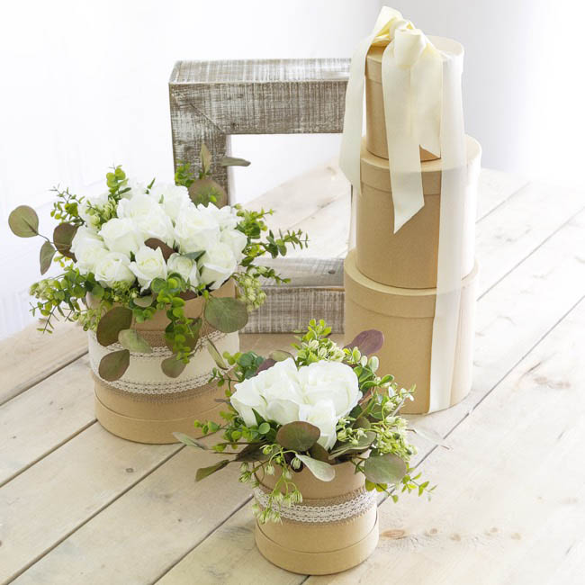 Gift Boxes Sets & Hat Boxes - Gift Flower Box Round Kraft (21x21cmH) Set 5