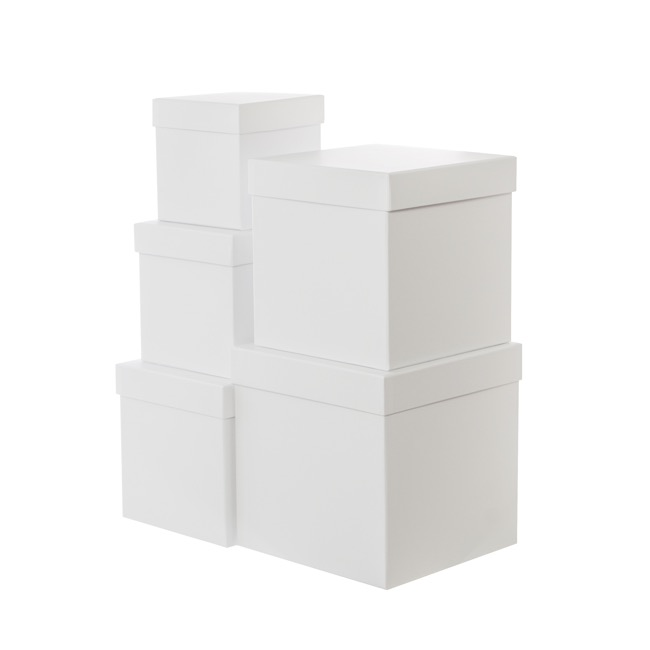 Gift Boxes Sets & Hat Boxes - Gift Flower Box Square White (21x21cmH) Set 5