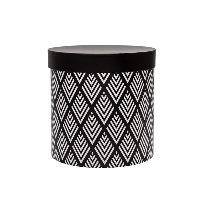 Gift Boxes Sets & Hat Boxes - Gift Flower Box Round Geo Black White (25x25cmH) Set 7