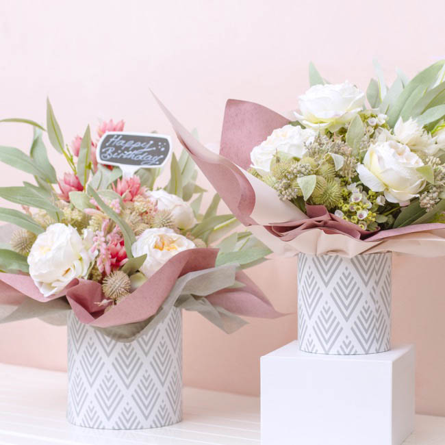 Gift Boxes Sets & Hat Boxes - Gift Flower Box Round Geo White Grey (25x25cmH) Set 7