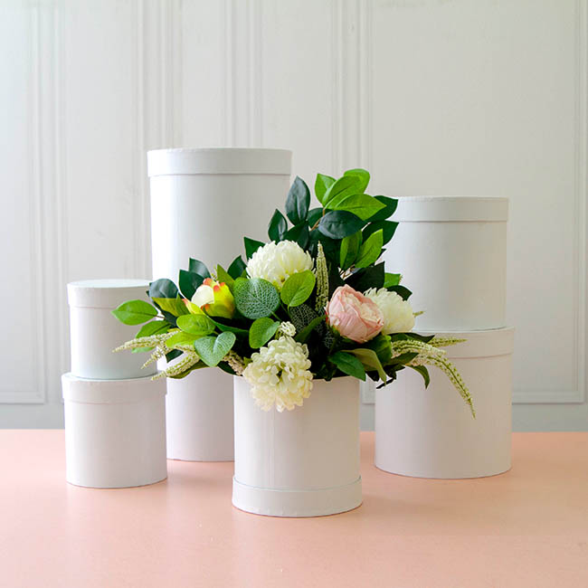 Gift Boxes Sets & Hat Boxes - Gift Flower Box Round White (25x25cmH) Set 7