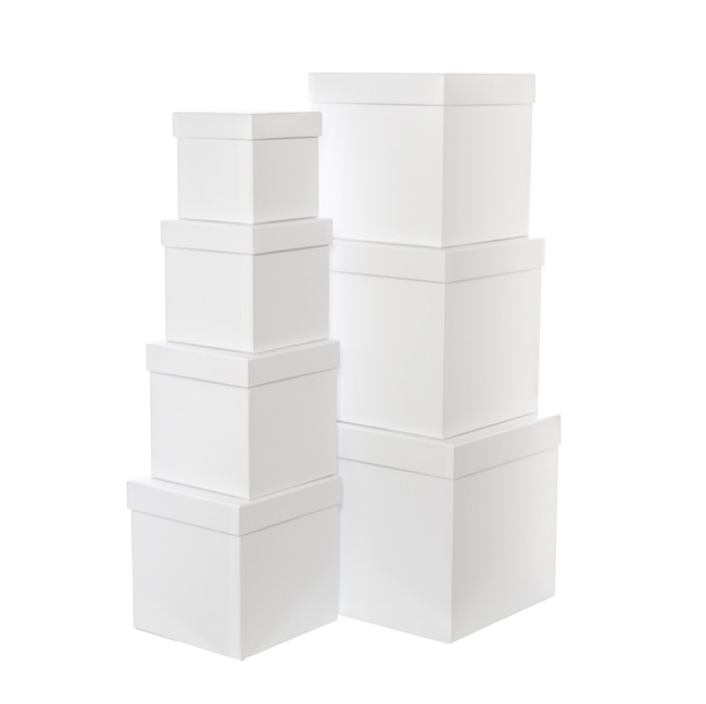 Gift Boxes Sets & Hat Boxes - Gift Flower Box Square White (25x25cmH) Set 7