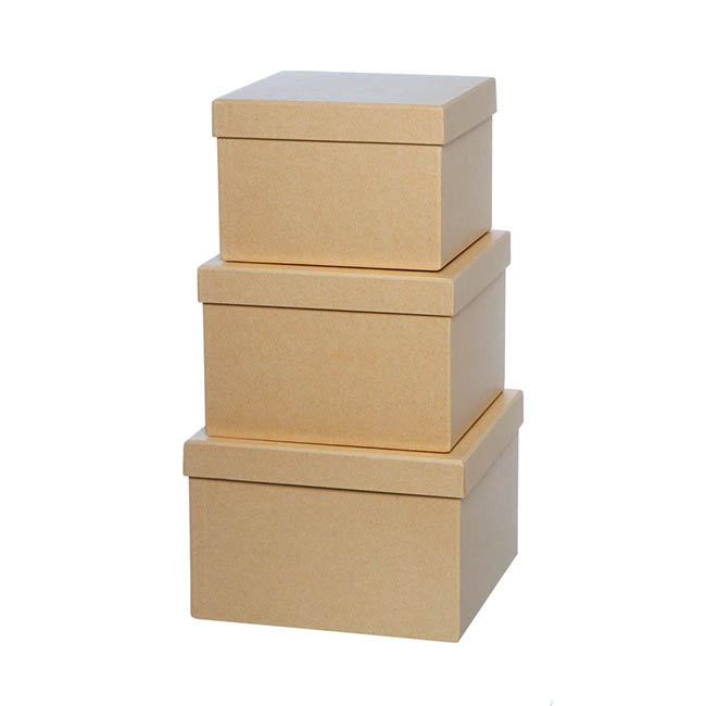 Gift Boxes Sets & Hat Boxes - Gift Flower Box Square Brown Kraft (21.5x21.5x14cmH) Set 3