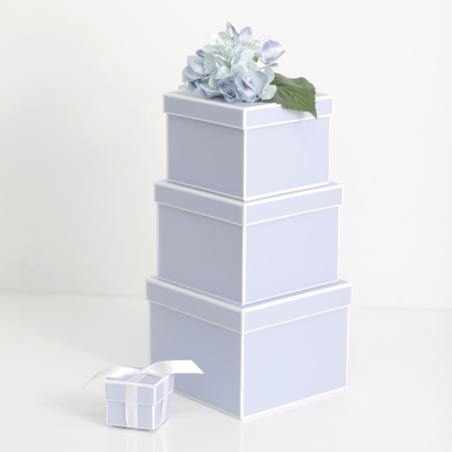 Gift Boxes Sets & Hat Boxes - Gift Flower Box Square Silhouette Blue (20x15cmH) Set 3