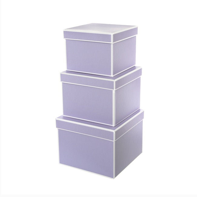 Signature Gift Box Square Set of 3 Lavender (20x15cmH)