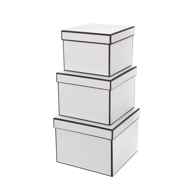 Gift Boxes Sets & Hat Boxes - Gift Flower Box Square Silhouette White (20x15cmH) Set 3