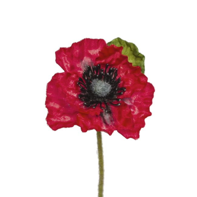 Other Flowers - Poppy Flanders with Black centre (49cmH) Red