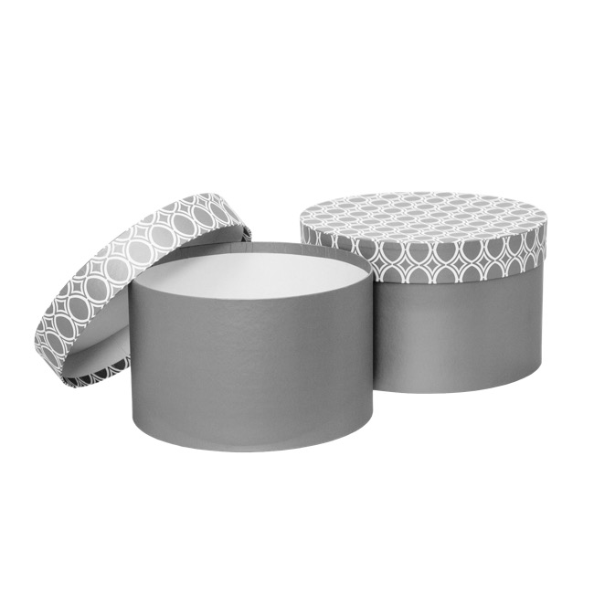 Gift Boxes Sets & Hat Boxes - Gift Box Medina Round Light Grey (25x15cmH) Set 2
