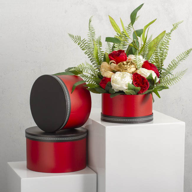Gift Boxes Sets & Hat Boxes - Gift Box Saddle Stitch Round Red (25x15cmH) Set 3