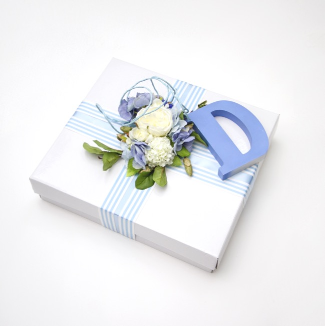 Bouquet Gown Christening Box - Wedding and Christening Square Box White (50x50x11cmH)