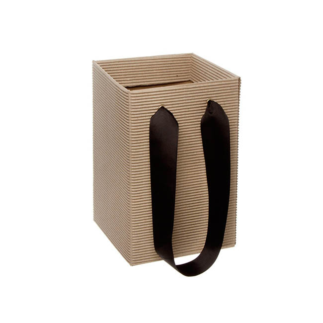 Posy Bag Corrugated With Handle 16x16x25cmH Natural Kraft
