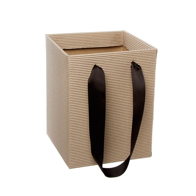 Posy Bag Corrugated With Handle 21x21x27cmH Natural Kraft