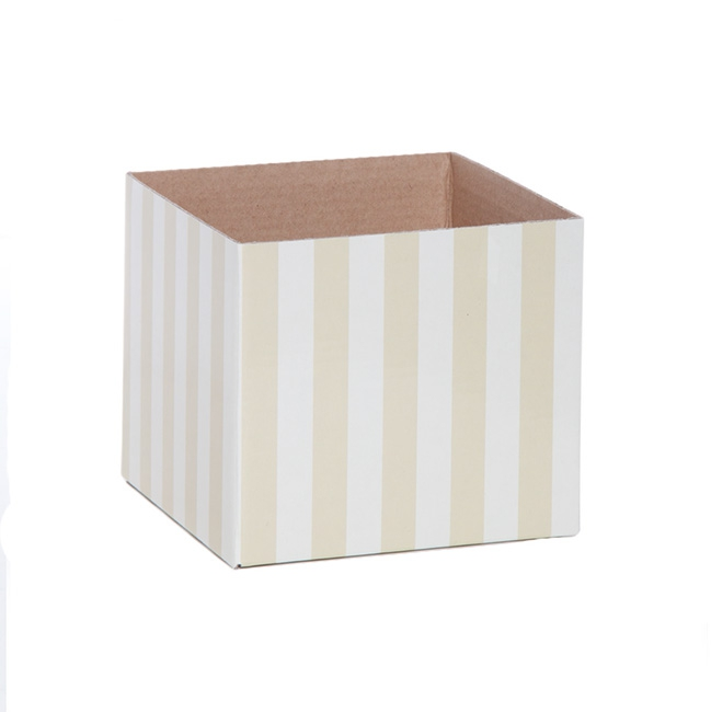 Posy Box Mini 13x12cmH Stripes Cream