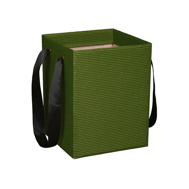 Corrugated Posy Bag With Handle Moss PK5 (16x16x25cmH)