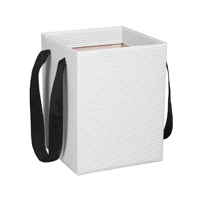 Corrugated Posy Bag With Handle White PK5 (21x21x27cmH)